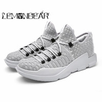 Autumn winter men's casual sports shoes flying woven high top Lace up sports men shoes breathable deodorant wearable lightweight