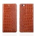 """Crocodile grain genuine leather case para oppo f1s/a59 a59m 5.5 """"1 Slot Para Cartão de Telefone Celular de luxo Capa & Ímã Invisível"""