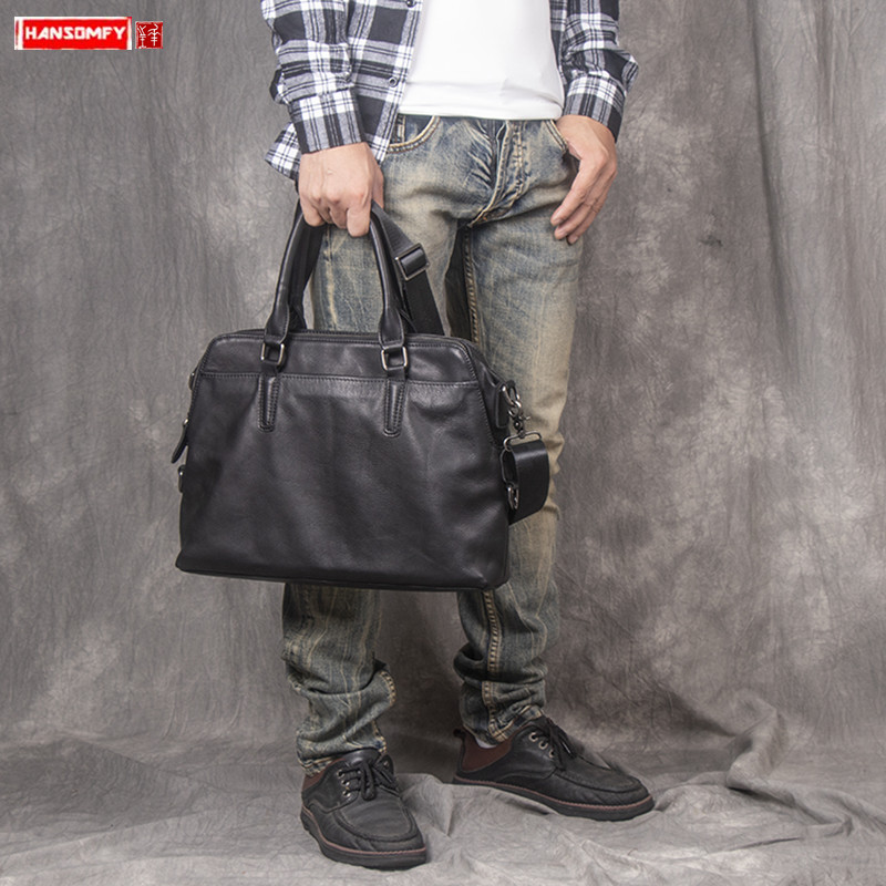 Genuine Leather Men's Handbag Portable Laptop Briefcase Vegetable Tanned Leather Shoulder Crossbody Bag Business Computer Bags