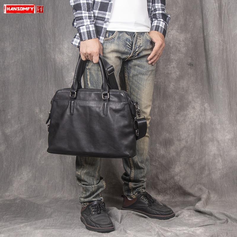 Genuine Leather Men's Handbag Portable Laptop Briefcase Vegetable Tanned Leather Shoulder Crossbody Bag Business Computer Bags