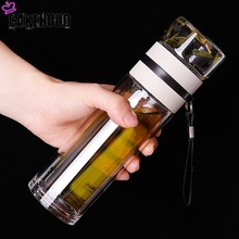 CAKEHOUD Creative Crystal Glass Double Vacuum Flask 450ml Tea Cup With Stainless Steel Filter Winter Sports Water Bottle