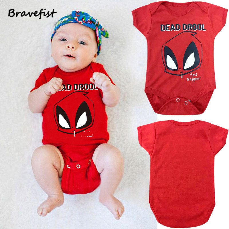 Cartoon Baby Summer Rompers Red Dead Drool Style Short Sleeve Child Clothing 0-24Months Infant Jumpsuit Short Ssleeve Outfit
