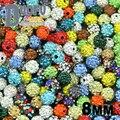 Atacado de Alta qualidade 8 MM 20 pcs Solto bead Barro Disco Ball Pave Cristal Shamballa Beads Jóias colar pulseiras Fazer DIY