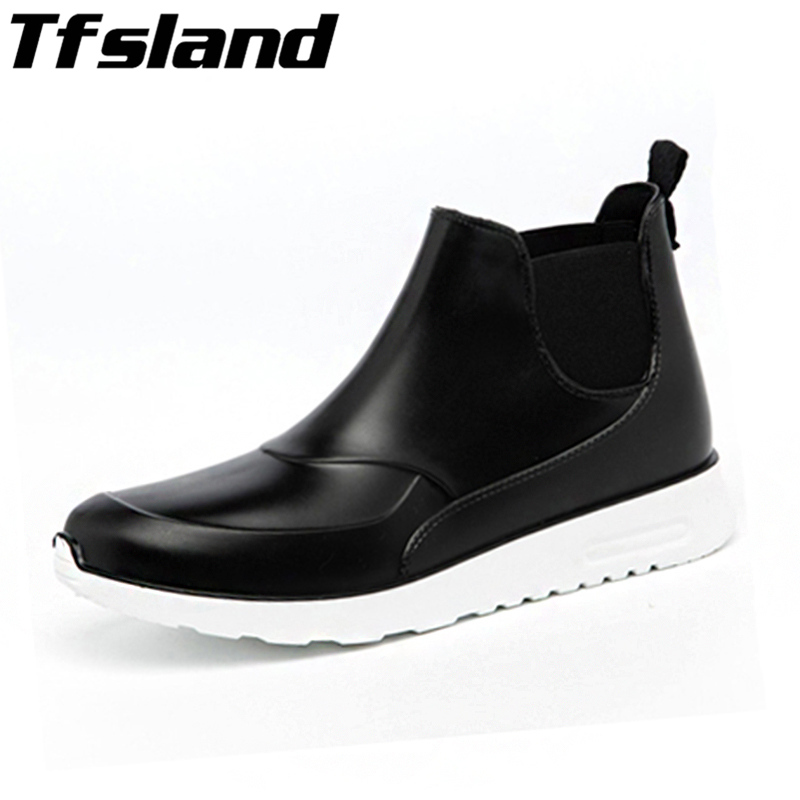 Men Women Short Rain Boots Couple Water Shoes Rubber Waterproof Shoes Non-slip Galoshes Rainboots Outdoor Walking Shoes Sneakers