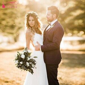 Image 2 - Modern Romantic Wedding Dresses Simplistic Elegant Fully Lined Skirt Bohemian Vestido De Noiva Bridal Gowns ZW168