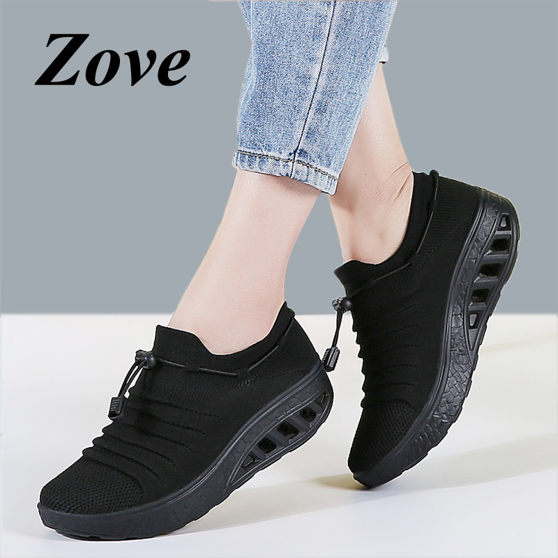 ZOVE Women Platform Flats Sneakers 2019 Summer Breathe Mesh Sock Shoes Thick Sole Femme Ladies Casual Walking Tennis Flat Shoes(China)