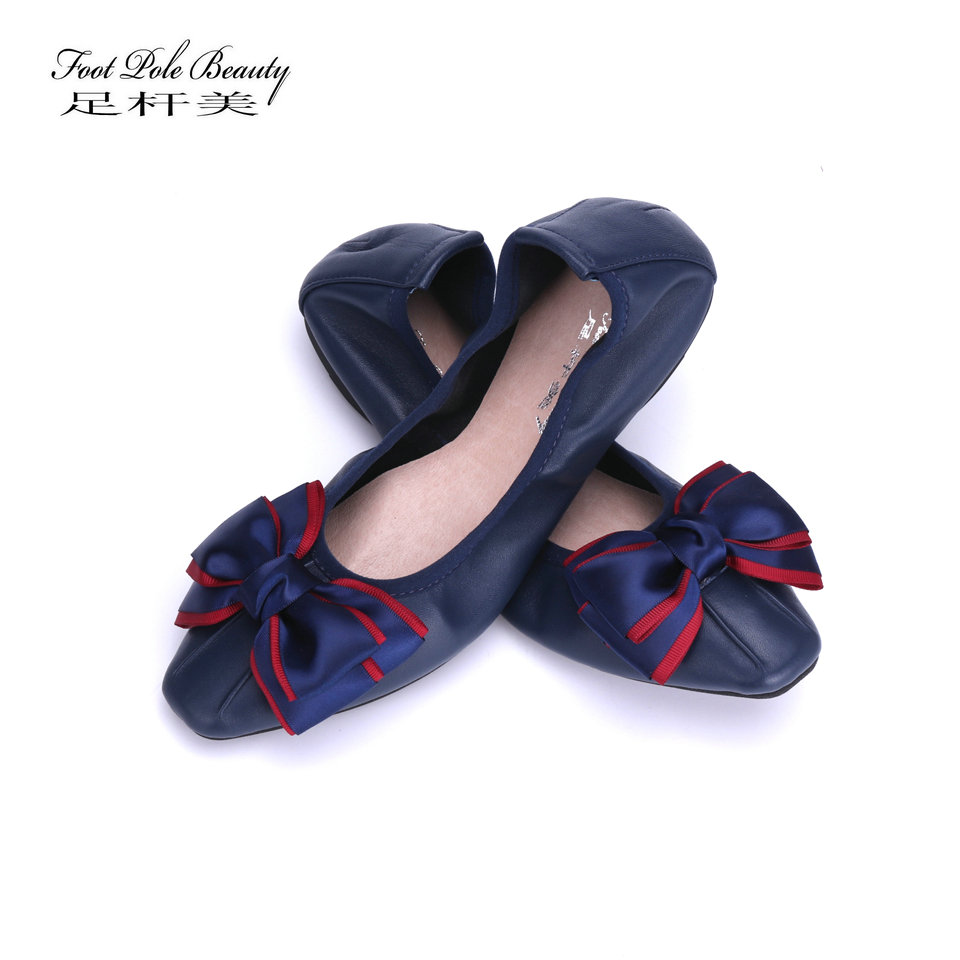 2018 brand new square head Genuine leather Comfortable pregnant women shoes bowknot Soft sheepskin ballet flats