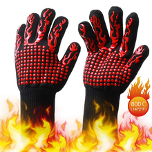 1Pair Work Gloves Fireproof High Temperature Resistant Working Gloves Men Fire Insulated Safety Glove BBQ Flame Proof Kitchen high temperature resistant splash resistant anti cold leather lengthened thickened welding gloves fireproof work safety gloves