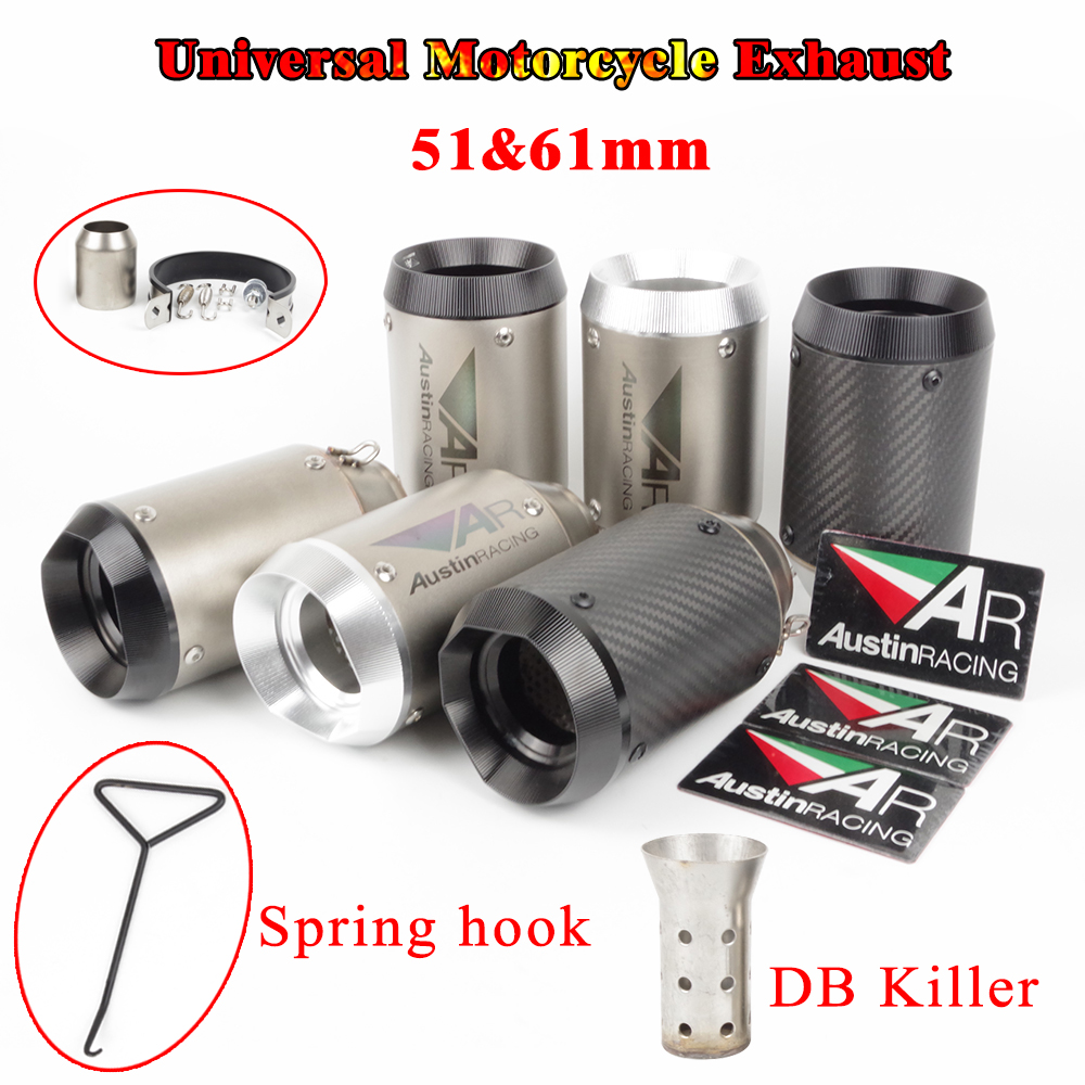 Escape-System Exhaust-Pipe Carbon-Fiber Db-Killer 51mm Motorcycle Universal ER6N 61mm
