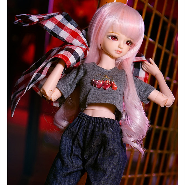 fortune days 1/4 bjd doll pale pink hair plaid shirt pants 45cm joint body 45cm  2