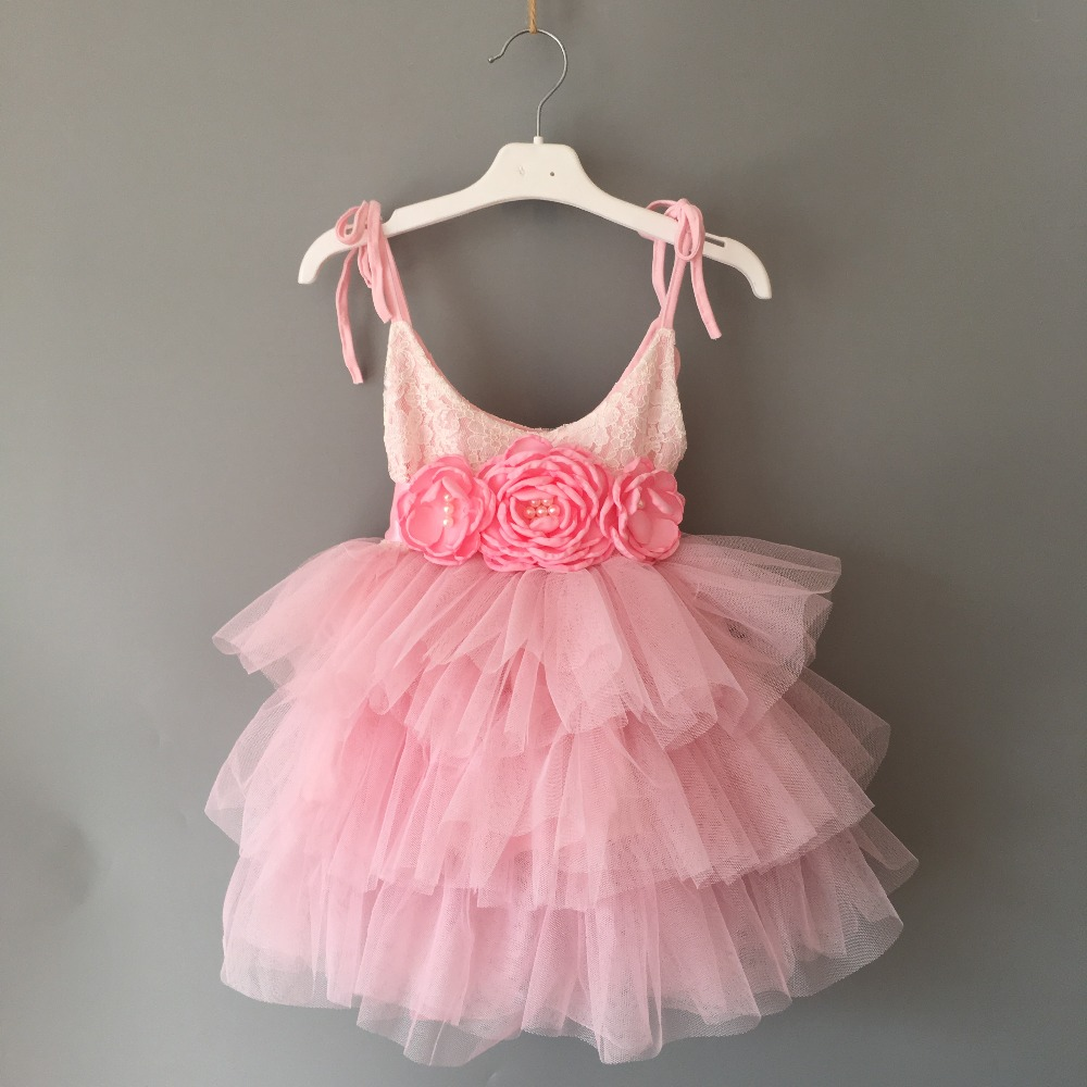 Beautiful flower girls wedding dress children party tutu gown for kids children flowers sashes princess sling summer dress 6