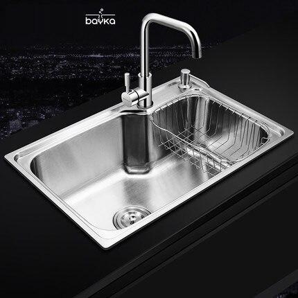 Bayka 201/304 нержавеющая сталь Матовый кухонная раковина, процедить сборки отходов фильтр, корзина, кран, dispensor (необязательно)