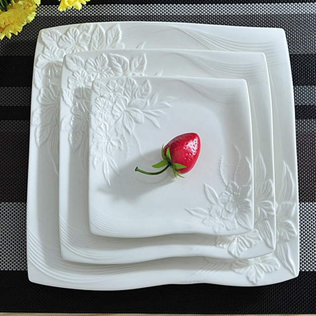 Flower Stamped Ceramic Plates Set