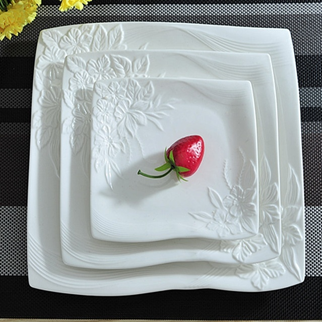 Flower St&ed Ceramics Flat Dinner Plate Set Decorative Porcelain Serving Dish Dinnerware for Beef Steak & Flower Stamped Ceramics Flat Dinner Plate Set Decorative Porcelain ...