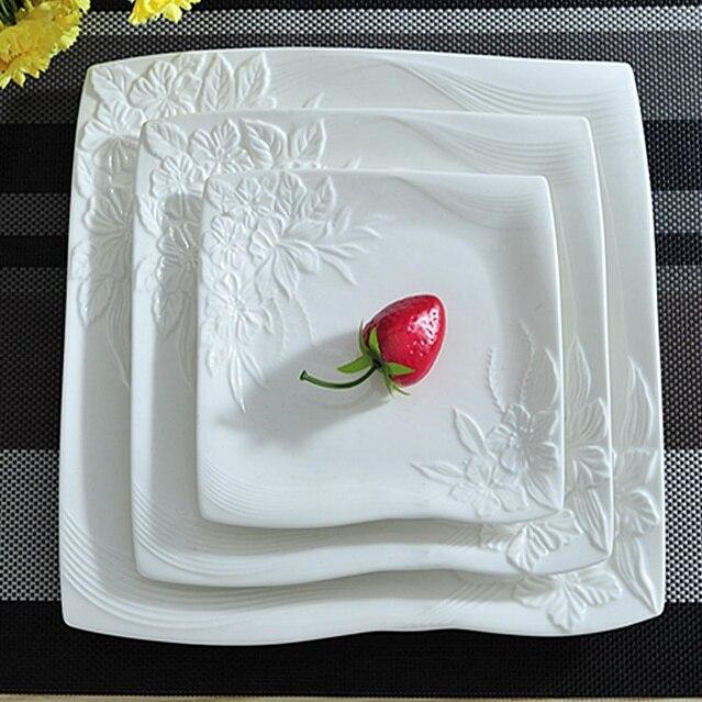 Vaisselle de service décorative en porcelaine | Céramique estampée de fleur, service d'assiettes plates pour la salade de boeuf Steak Spaghetti 3/ensemble