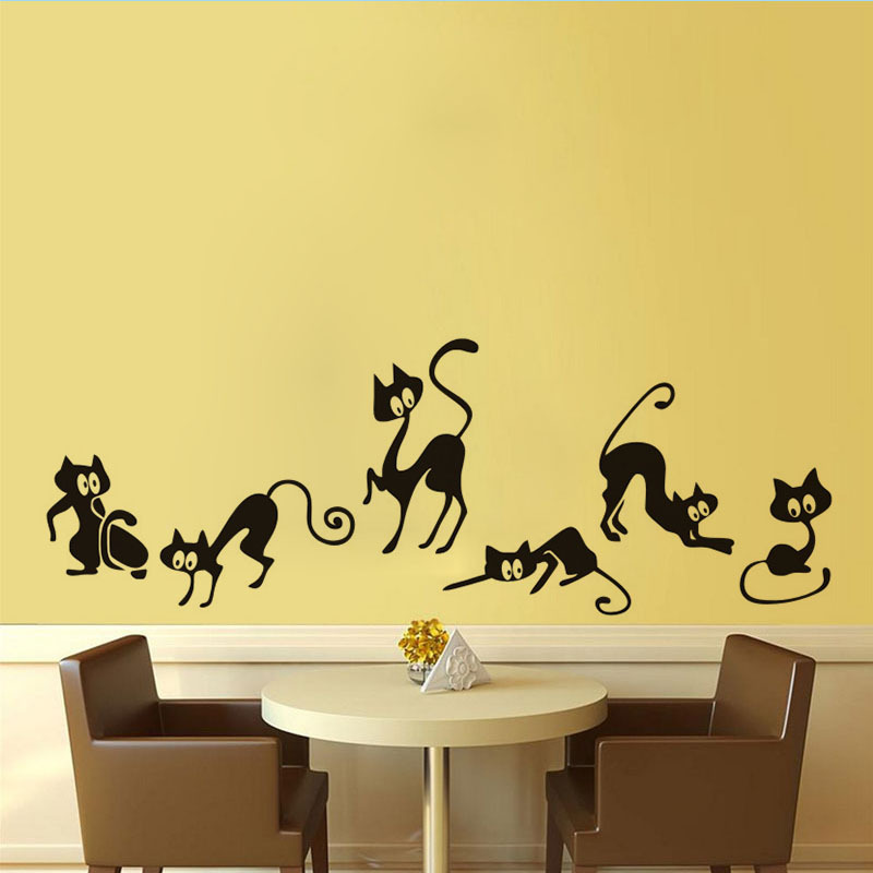 Funny Black Cat Wall Sticker Animals Living Room Background For Home Decoration Mural Art Decals Wallpaper Waist Line Stickers
