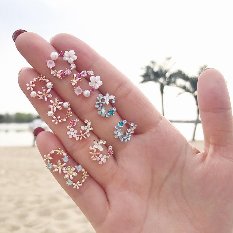 Fashion Korean Style Colorful Rhinestone Wreath Stud Earrings