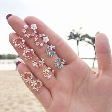 2019 Fashion Korean Style Colorful Rhinestone Wreath Stud Earrings For Women Silver Sweet Small Circle Flower Earrings Jewelry(China)