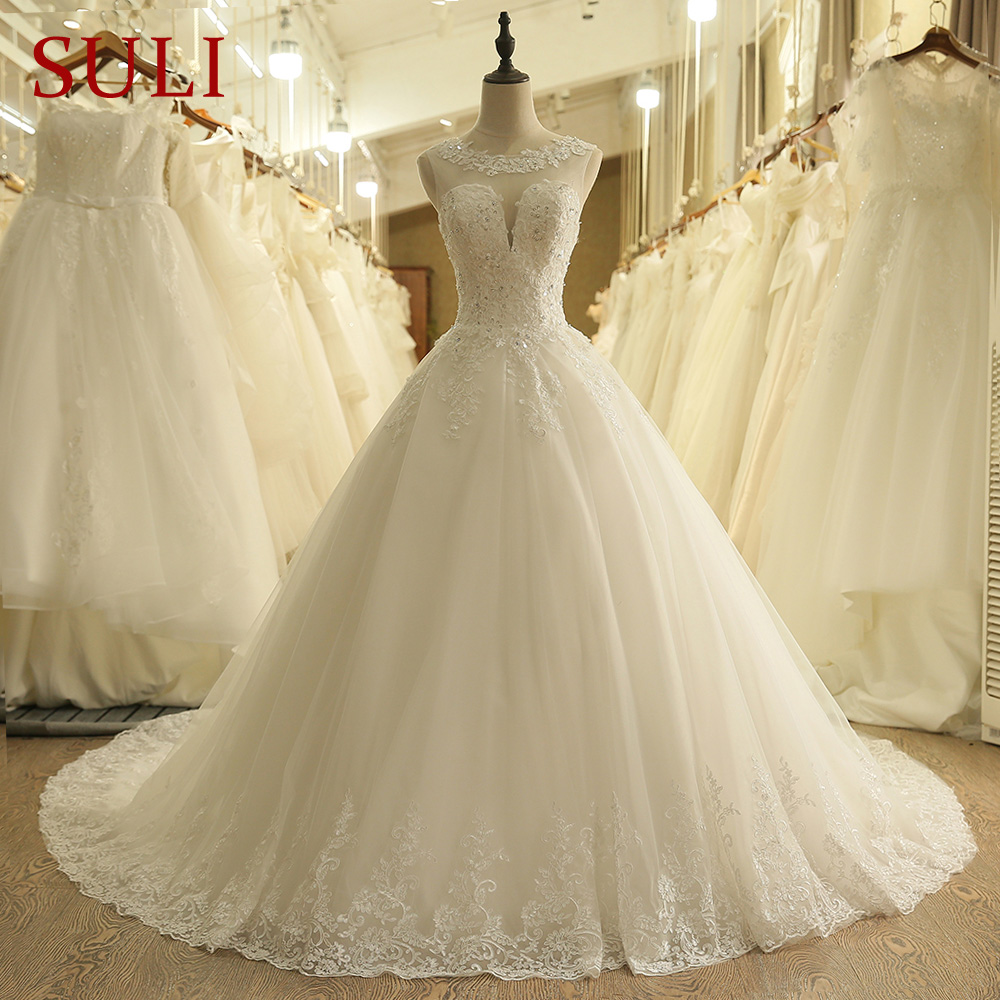 SL-9011 Vintage O-Neck Backless Illusion Lace Chapel Train Wedding Dress Bridal Gowns 2019