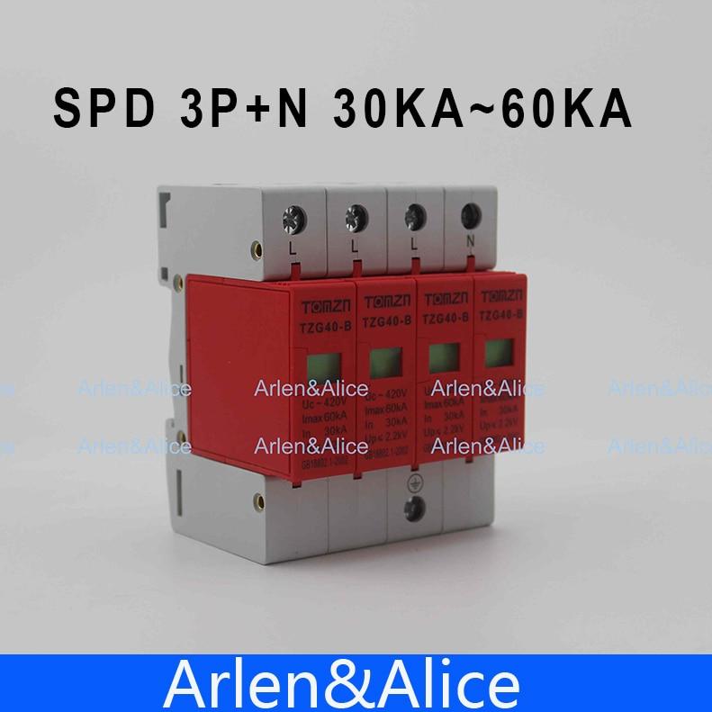 SPD 3P+N 30KA~60KA  B ~385VAC House Surge Protector Protective Low-voltage  Arrester Device