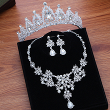Women Wedding Jewelry Crowns Set Necklace Earrings Rhinestone Crystal Hair Accessories Bridal Party Headpiece Headbands недорого