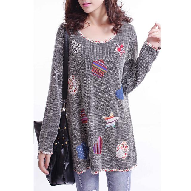Mujeres camiseta de largo 2015 otoño venta XXXL pétalo y corazón parche de impresión de punto básico camisa mujeres rayas de la marca Femme Tops