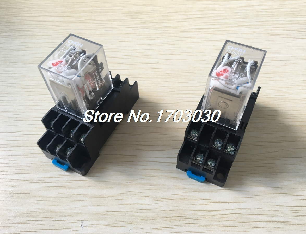 2pcs HH53P AC 220/240V 3PDT Red LED DIN Mounted Power Relay w Socket hh54pl ac 220 240v coil 14 pin 4pdt red led indicator lamp power relay 10 pcs