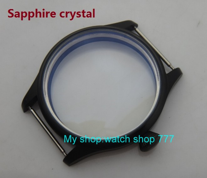 Sapphire crystal 44MM 316L stainless steel watch case with Plating black fit 6497/6498 Mechanical Hand Wind movement 18-8a rebecca minkoff сумка через плечо