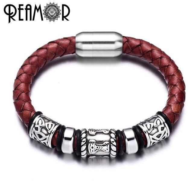 894c8a087f27 316L de acero inoxidable estilo vikingo pulseras para hombres genuino cuero  trenzado pulsera brazaletes de hombre
