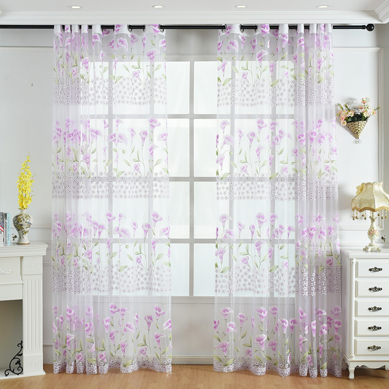 Flora Tulle Curtains For Kitchen Living Room Bedroom Balcony Door Window  Sheer Panel Voile Curtain Yellow U0026 Purple Morning Glory In Curtains From  Home ...