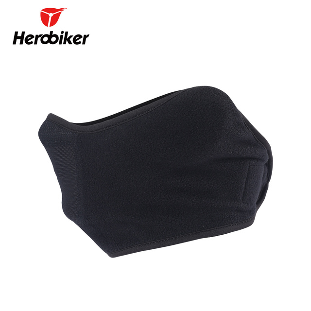 HEROBIKER Black Motorcycle Face Mask Moto Autumn Winter Skiing Snowboard Mask Cold-proof Thermal Fleece Cycling Half Face Mask 2