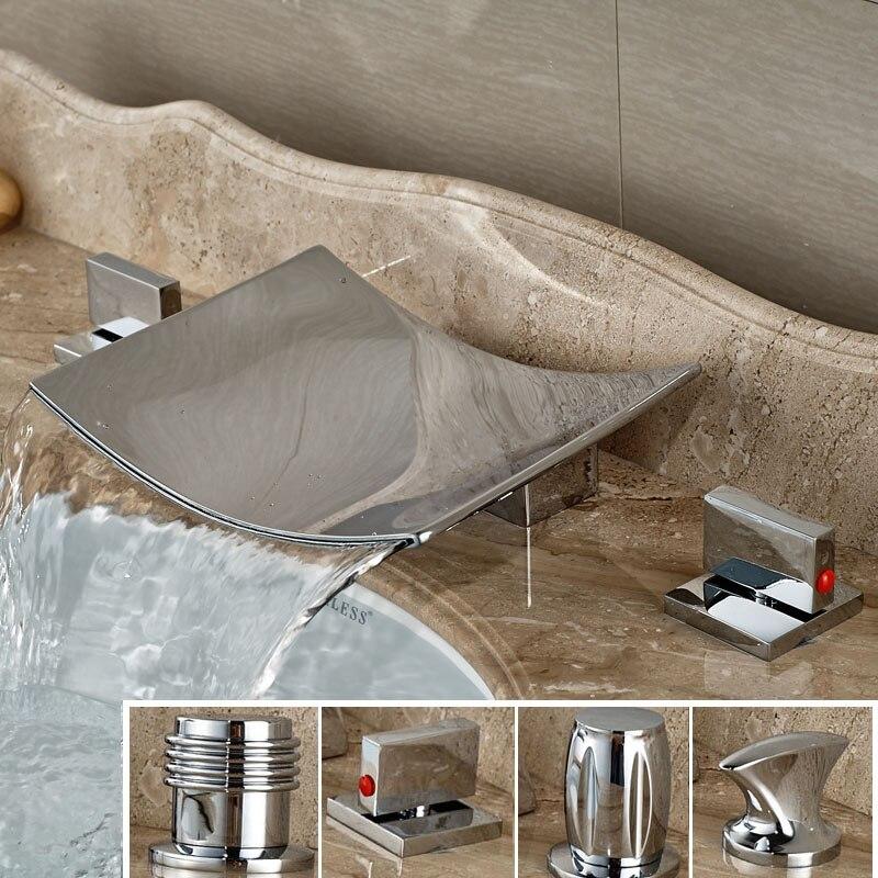 Deck Mount Ceramic Cartridge Dual Handle Basin Faucet Dhrome Brass Waterfall Spout Bathroom Mixer Taps deck mount wide waterfall brass basin