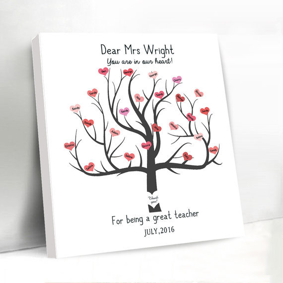 Romantic Wedding Love Tree Custom Name and Dates Canvas Guest Book ...