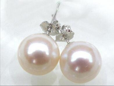 Free shipping 14 solid white gold 10-11mm AAA+++ perfect round white south sea pearl earrings