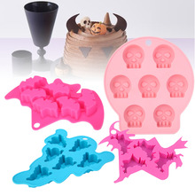 1set Halloween Mold Witch Bone Ghost Bat Silicone Fondant Flexible Cake Mould Soap Molds Decorating Tools Color Random