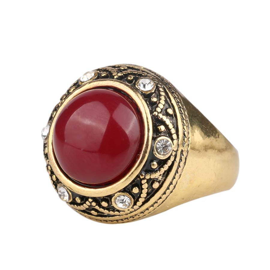Luxury Red Resin Ring Gold Color Jewelry Egypt Medusa