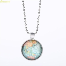 HOT Brand Fashion Woman Vintage Map Cabochon Glass Necklace Pendant with Ball Chain Necklace