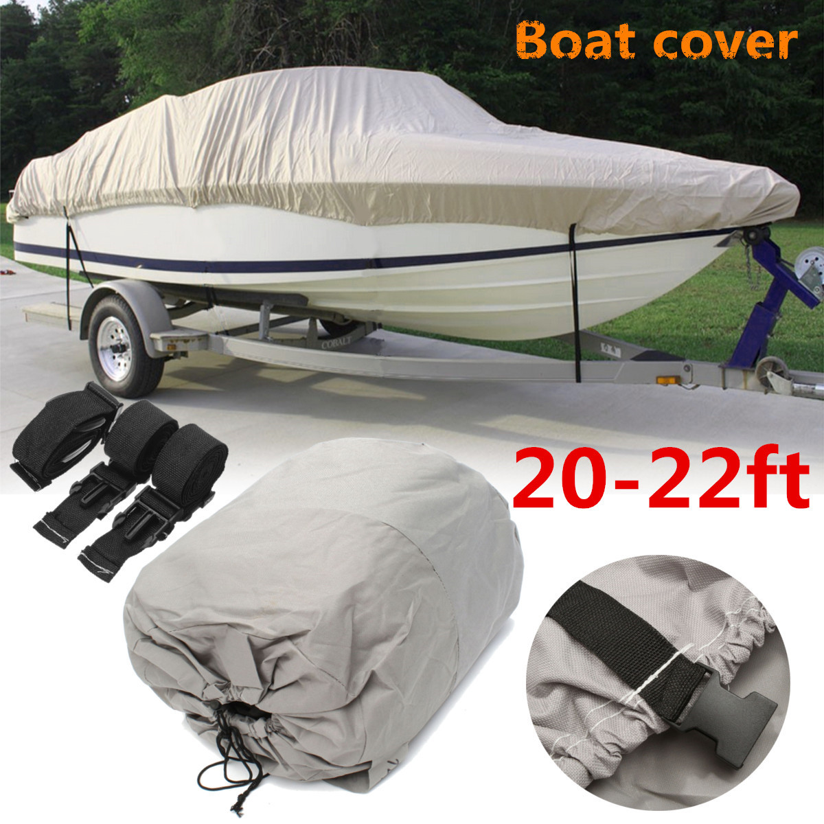 20 22ft 600D Grey Waterproof Heavy Boat Cover Fishing Ski VHull