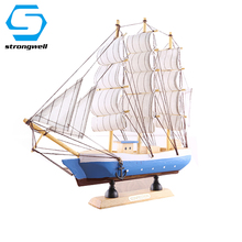 Creative Wooden Sailboat Model Ornaments Abstact Wood Crafts Miniature Living Desktop Home Decoration Birthday Gift Toy