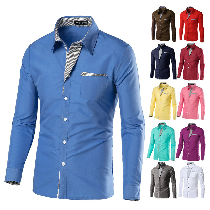 02b41b003 2018 Nova Marca de Moda Camisa Masculina Camisa de Manga Longa Men Coreano  Design Slim Formal Vestido Casual Masculino Camisa Tamanho M-4XL