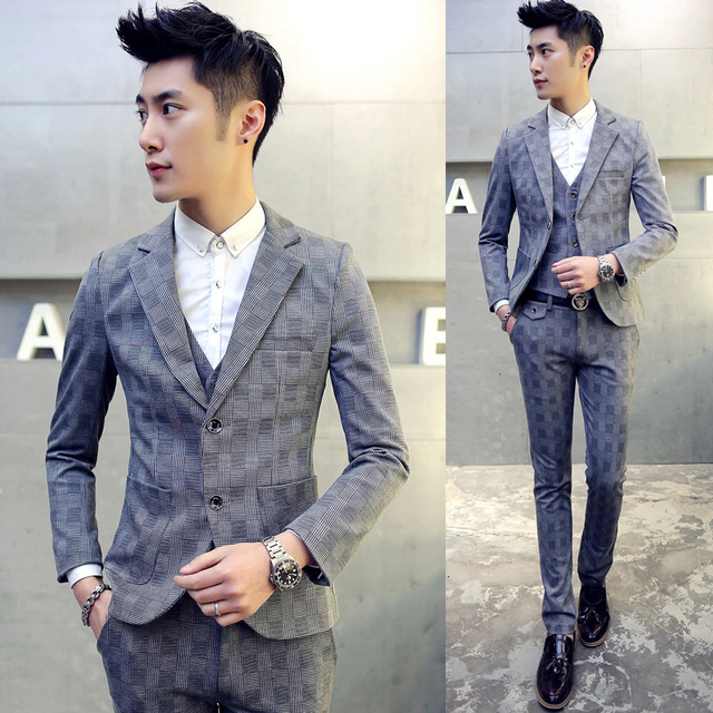 High Quality Mens Large Size Slim Suits Teen Wedding Dress Formal Wear Clothes Male Business Casual