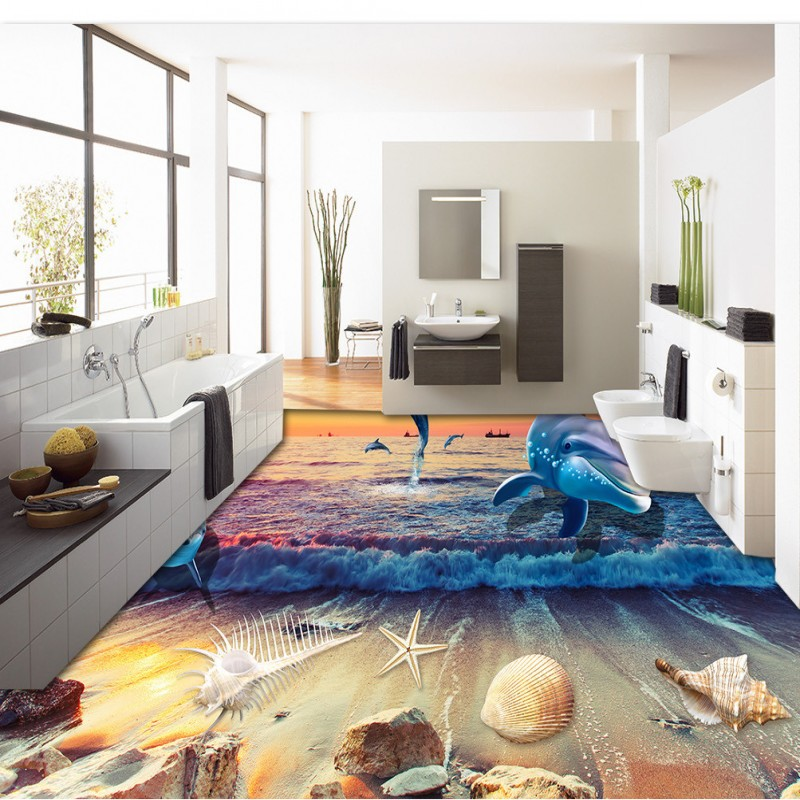 beibehang Whale Dolphin non-slip waterproof self-adhesive sticker paint bathroom wallpaper for walls 3 d wall papers home decor stylish dolphin pattern 3d wall sticker for home decor