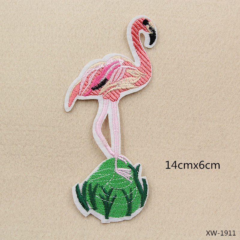 VIPOINT embroidery big flamingo patches bird patches badges applique patches for clothing XW 91 in Patches from Home Garden