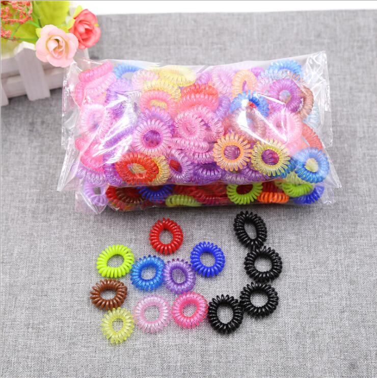 50 Pcs Transparent Telephone Wire Line Cord Fluorescent Headbands Rubber Bands Elastic Hair Bands Girl Scrunchy for Hair Ties