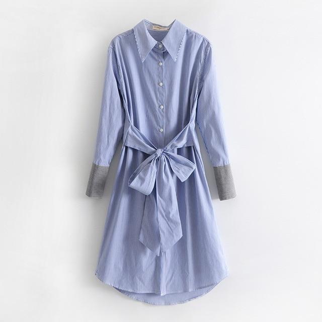 e3fdb2179d Wiosna 2018 Couture temperament niebieski pionowe paski w kolano długa  koszulka bawełniana sukienka