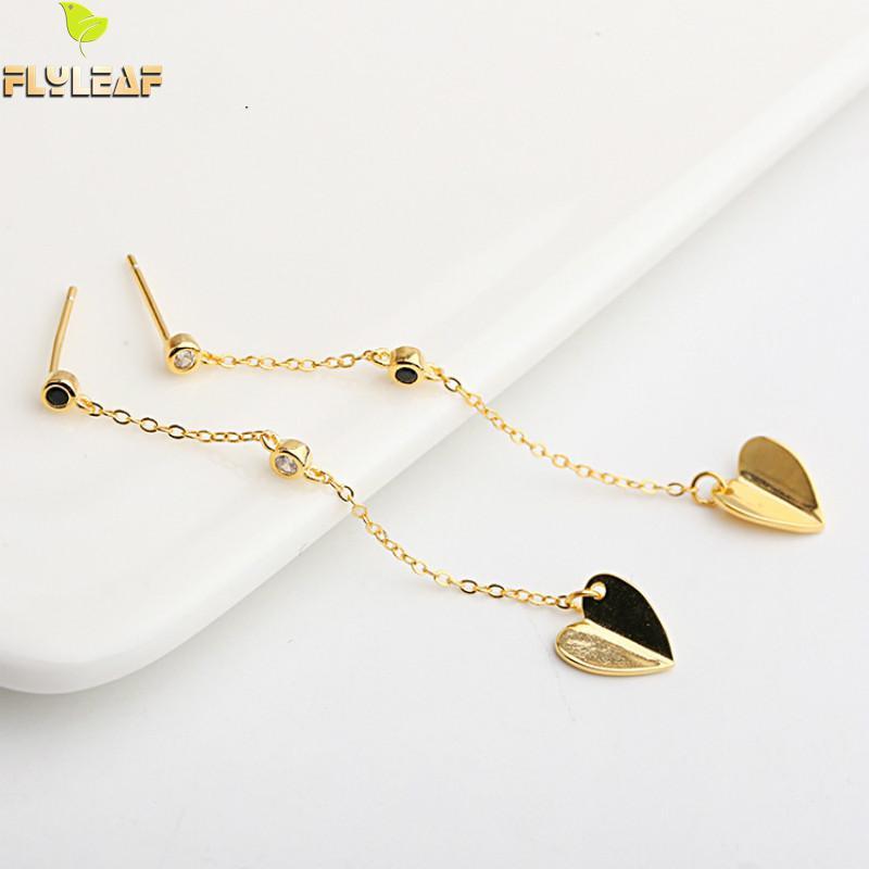 Flyleaf 100 925 Sterling Silver Long Tassel Heart Drop Earrings For Women Fashion Party Jewelry in Drop Earrings from Jewelry Accessories
