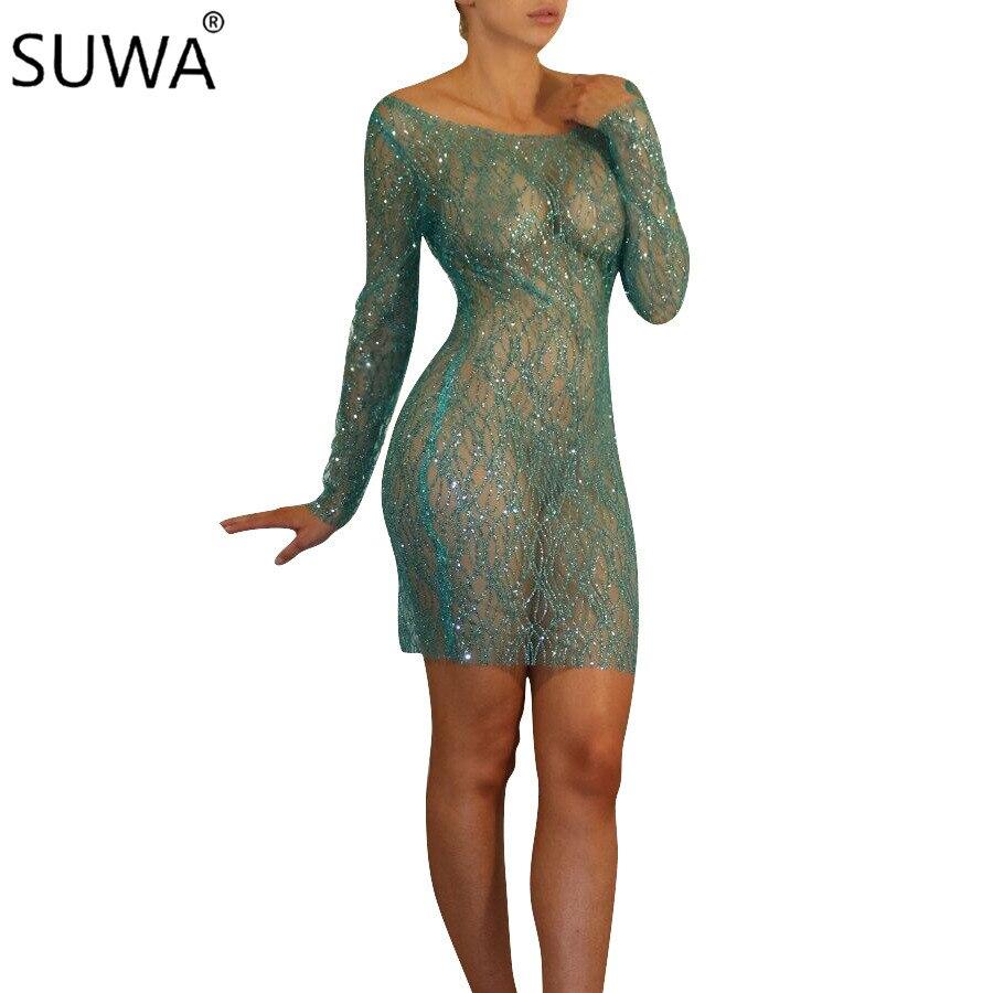 Новый дизайн женские прозрачные платья ночной клуб сексуальное платье блесток Bodycon платье vestidos DN8048