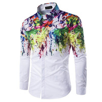 2018 New Fashion Brand Men Shirt Color Stitching Casual Shirt Long Sleeve Slim Fit Camisa Masculina Casual Male Shirts White 3XL
