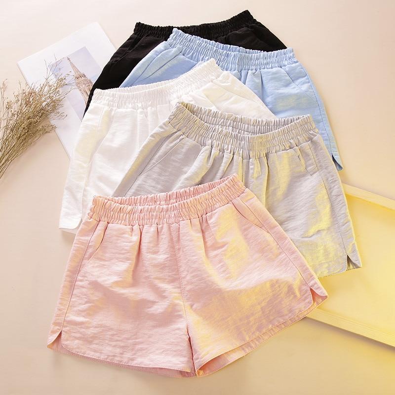 Harajuku BF Summer   Shorts   Women Elastic High Waist Wide Leg   Shorts   Female Sweatpants Casaul   Short   Femme Beach Hot   Shorts   C4384