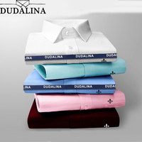 DUDALINA 2018 Men Casual Long Sleeved Pocket High Quality Shirt Slim Fit Male Social Business Dress